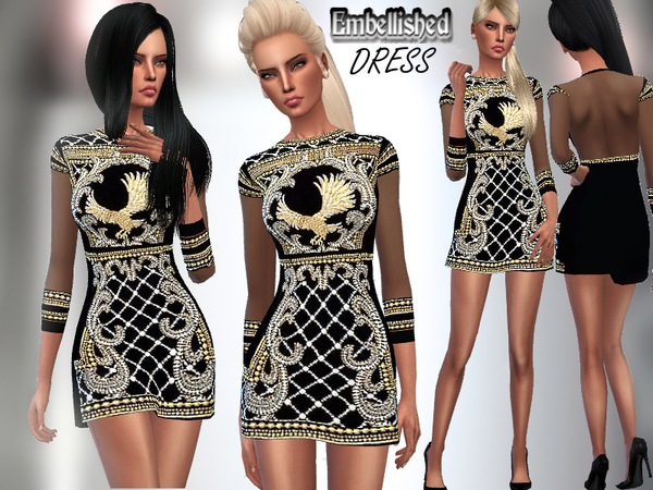 The Sims Resource: Embellished Dress by Puresim