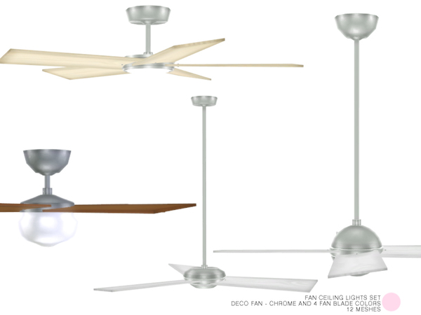 The Sims Resource: Fan Ceiling Lights Set by DOT