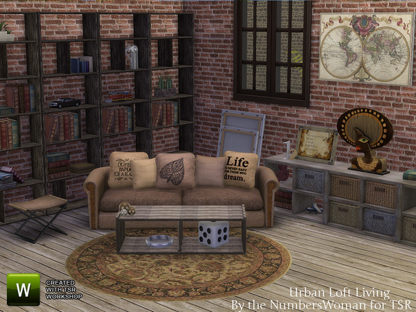 The Sims Resource Urban Loft Living Room By