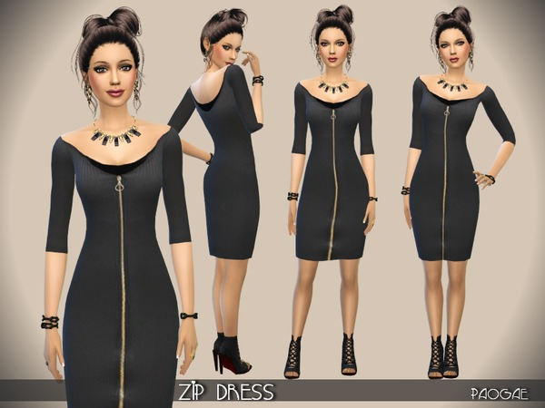 The Sims Resource: Zip Dress by Paogae