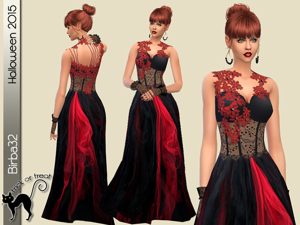 The Sims Resource: Red and Black dress by Birba32