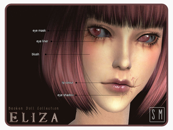The Sims Resource: Eliza    Broken Doll Makeup Collection by Screaming Mustard