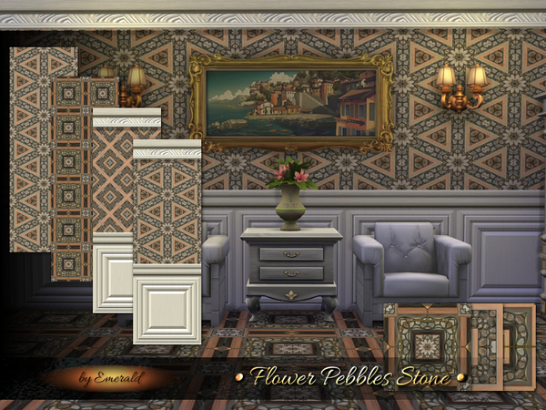 The Sims Resource: Flower Pebbles Stone by Emerald