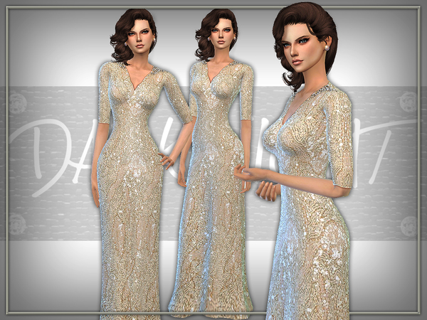 The Sims Resource: Floor Length Sequin Gown by DarkNighTt