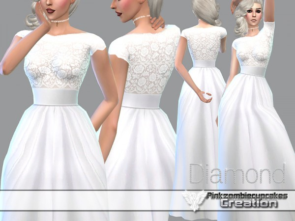 The Sims Resource: Diamond Wedding Gown by Pinkzombiecupcake