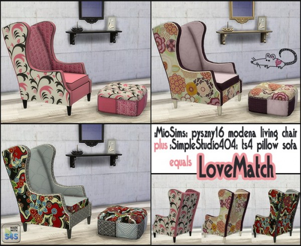 Loveratsims4: Living chair and pillow sofa