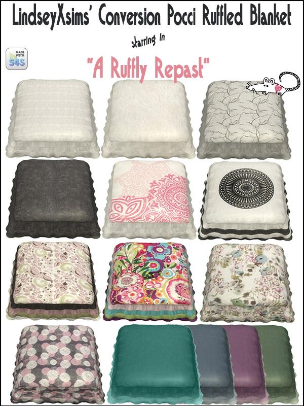 Loveratsims4: Pocci's Ruffled Blanket recolor