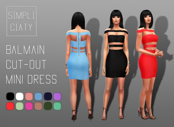 simpliciaty balmain cut out mini dress sims 4 downloads. Black Bedroom Furniture Sets. Home Design Ideas