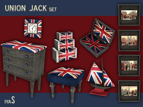 The sims resource union jack set by soloriya sims 4 - Decor union 2000 ...