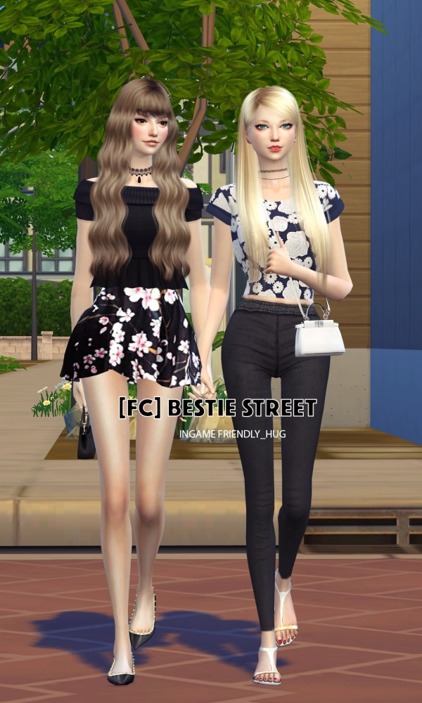 Flower Chamber: Bestie Street Couple Poses Set