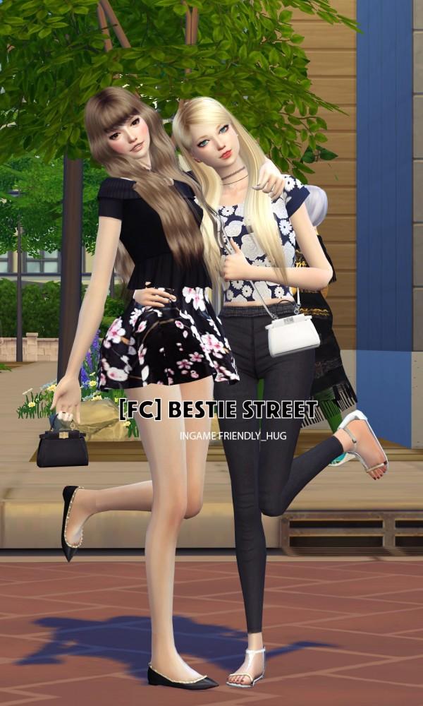 Flower Chamber Bestie Street Couple Poses Set Sims 4