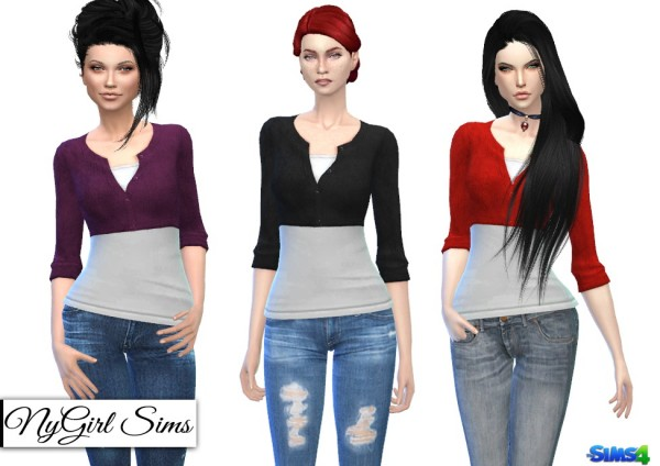 NY Girl Sims: Wool Cardigan Crop with Whit Tee