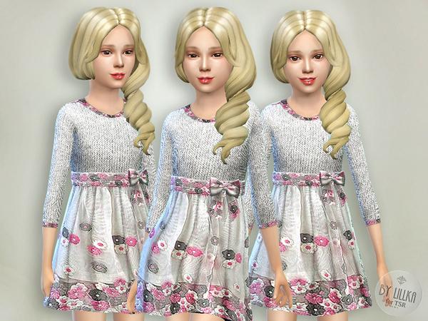 The Sims Resource: Gray & Pink Knitt Dress by lillka