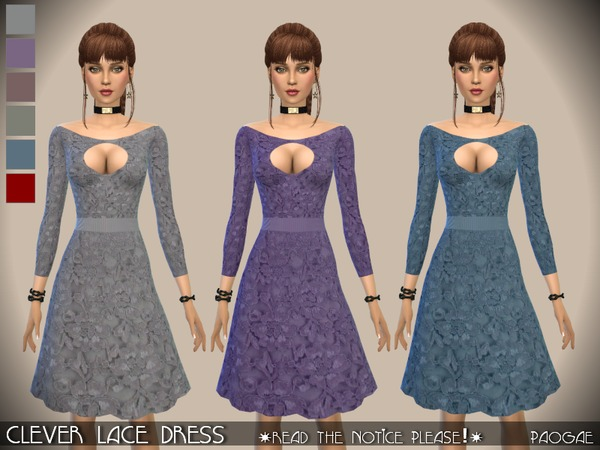 The Sims Resource: Clever Lace Dress by Paogae