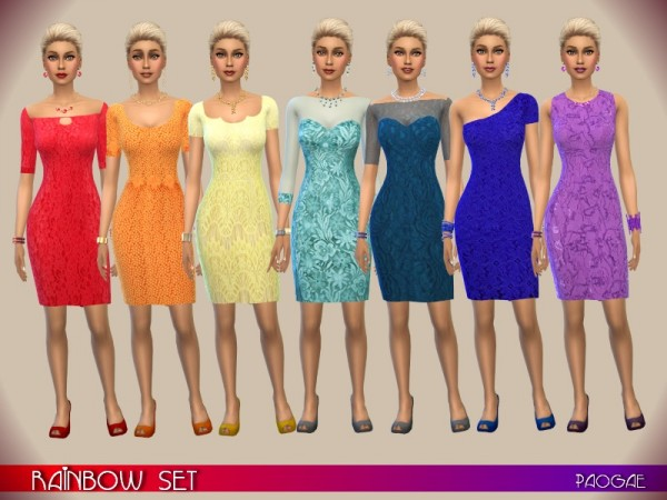 The Sims Resource: Rainbow Set by Paogae