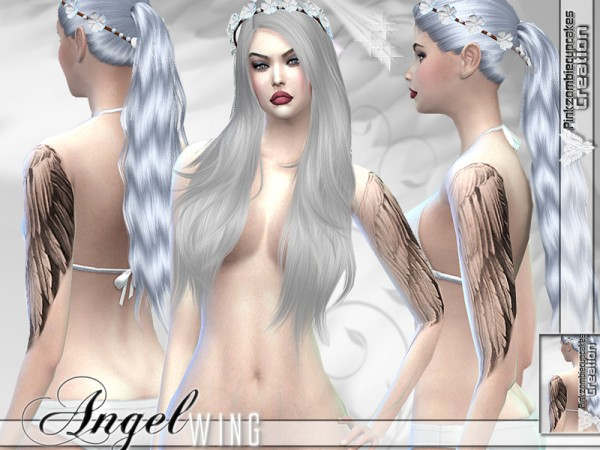 The Sims Resource: Angel Wing Half Sleeve Tattoo by Pinkzombiecupcake