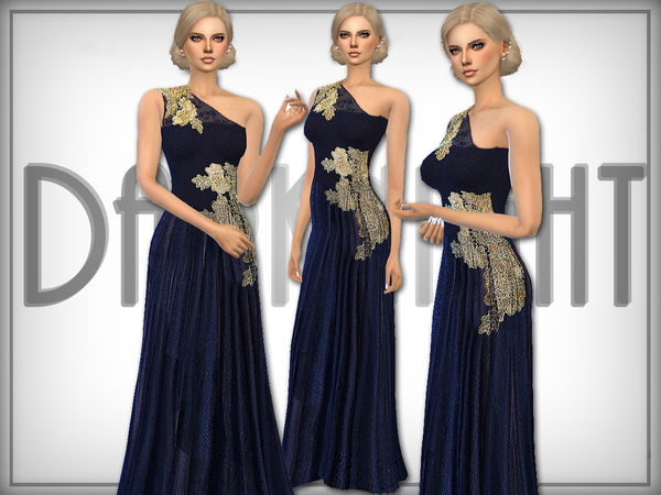 The Sims Resource: Golden Detail Tulle Gown by DarkNighTt