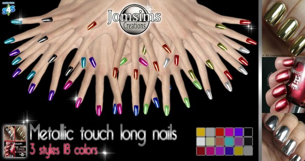 Jom Sims Creations: Metallic touch long nails
