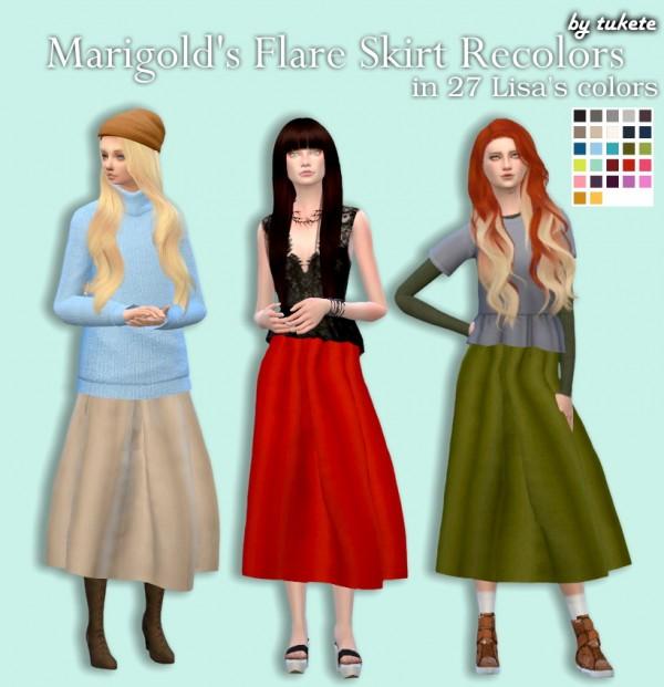 Tukete: Marigold's Flare Skirt recolors
