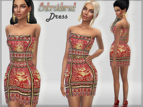 The Sims Resource: Embroidered Dress by Puresim