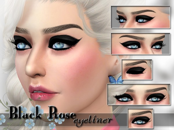 The Sims Resource: Black Rose Eyeliner by Pinkzombiecupcakes