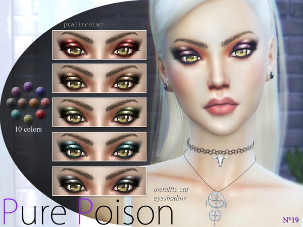 The Sims Resource: Pure Poison   Metallic Cat Eyeshadow  N19 by Pralinesims