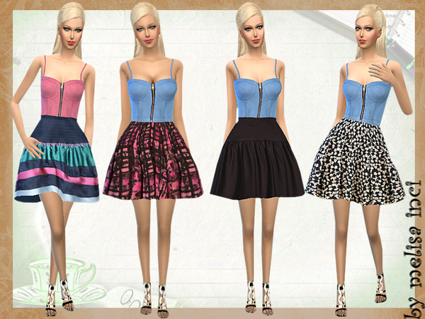 The Sims Resource: Denim Bralet Floral Dress by Melisa Inci