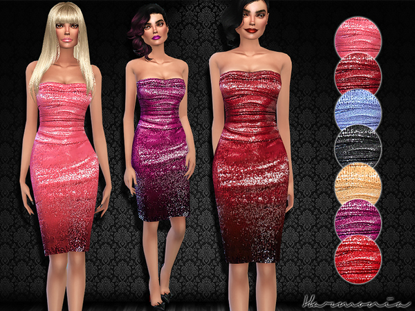 The Sims Resource: Crushed Sequin Bodice Dress by Harmonia