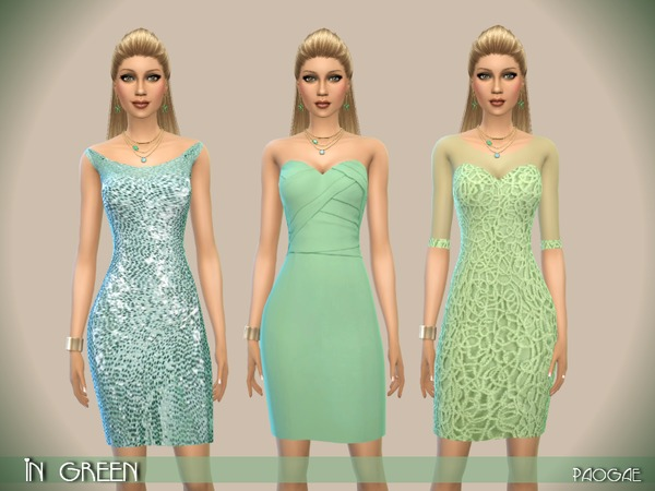 The Sims Resource: InGreen dresses by Paogae