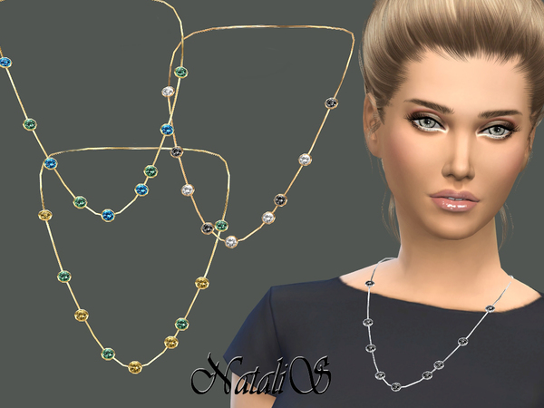 The Sims Resource: Semiprecious multistone necklace by NataliS