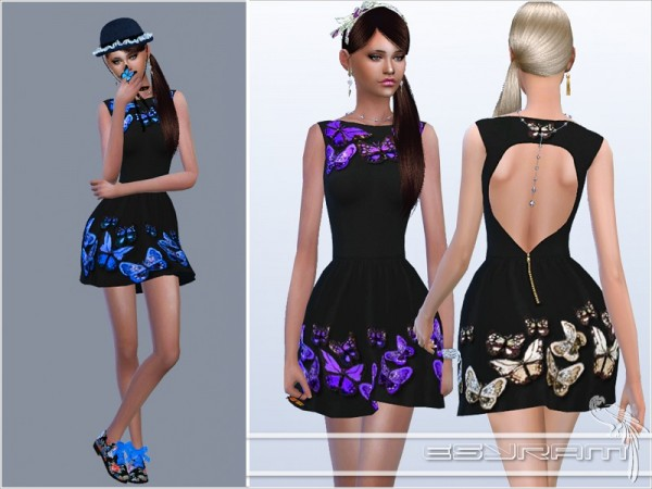 The Sims Resource: Butterfly crepe dress by EsyraM