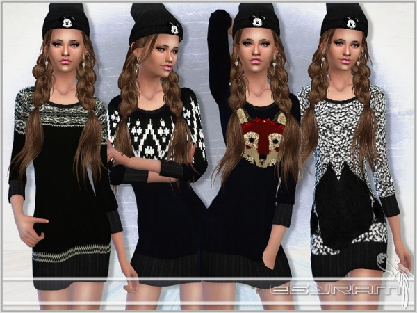 The Sims Resource: Knitted sweater dress by EsyraM