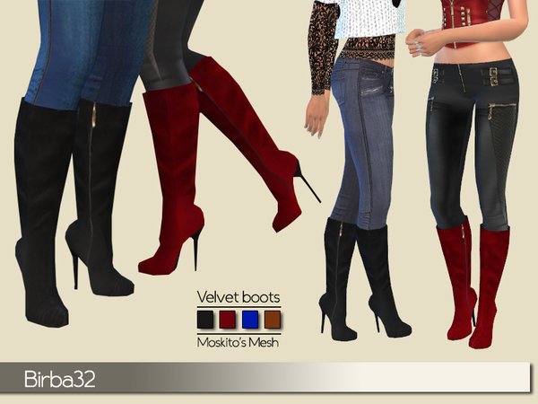 The Sims Resource: Velvet boots by Birba32