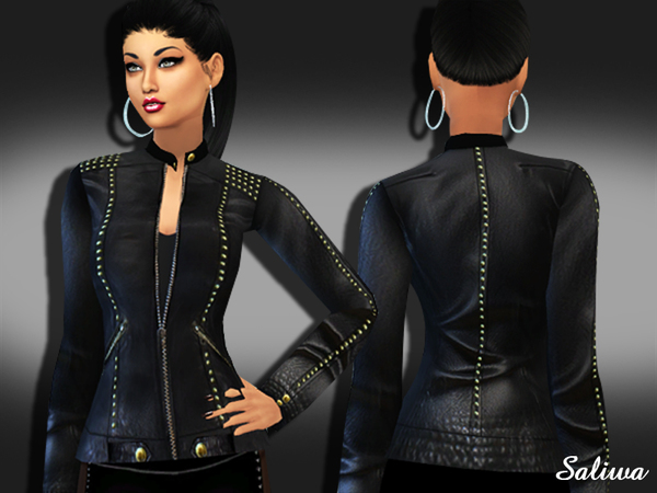 The Sims Resource: Realistic Designer Leather Jacket by Saliwa