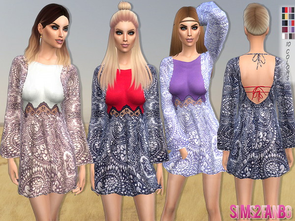 The Sims Resource: 98   Printed dress by sims2fanbg