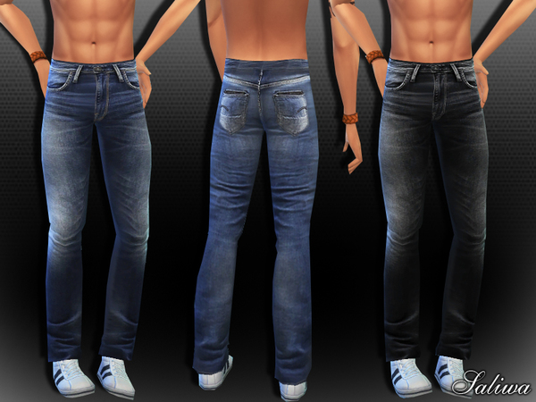 The Sims Resource: Men Realistic Wrangler Jeans by Saliwa