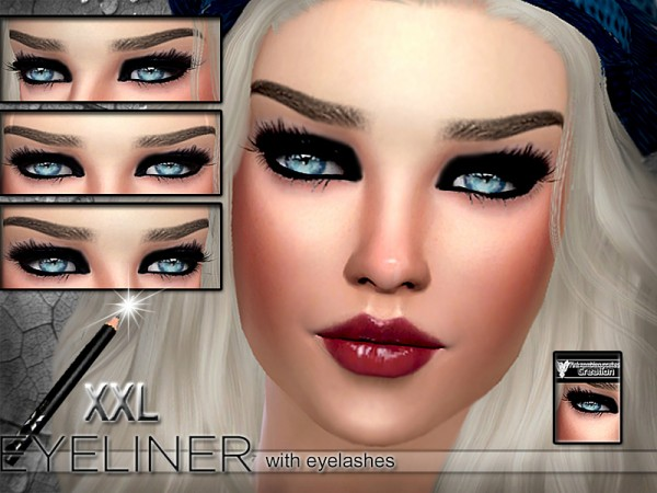 The Sims Resource: Seductive Eyeliner with eyelashes by Pinkzombiecupcakes