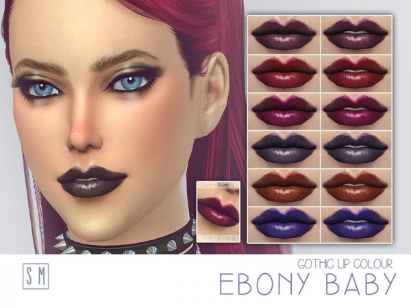 The Sims Resource: Ebony Baby    Gothic Lip Colour by Screaming Mustard
