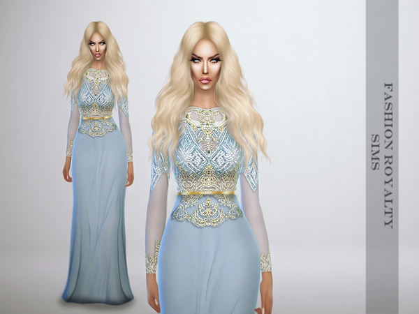 The Sims Resource: Lightblue Royalty Gown by FashionRoyaltySims