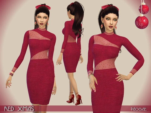 The Sims Resource: Red Xmas dress by Paogae