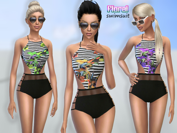 The Sims Resource: Floral Swimsuit by Puresim