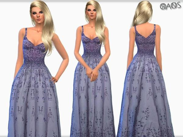The Sims Resource: Violet Embroidered Tulle V Neck Ball Gown by OranosTR