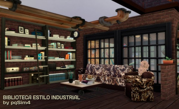 Pqsims4 Industrial Style Library Sims 4 Downloads