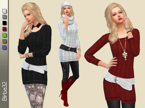 The Sims Resource: Belted Winter Dress by Birba32