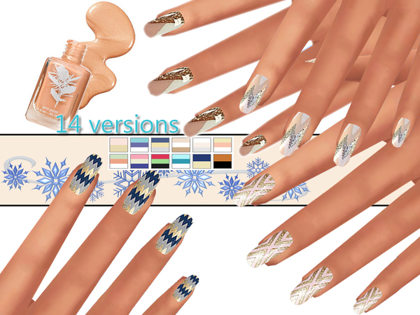 The Sims Resource: Winter Aztec Nails Pack by Pinkzombiecupcake