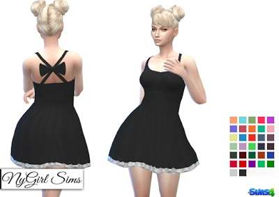 NY Girl Sims: Open Cross Back Dress with Bow