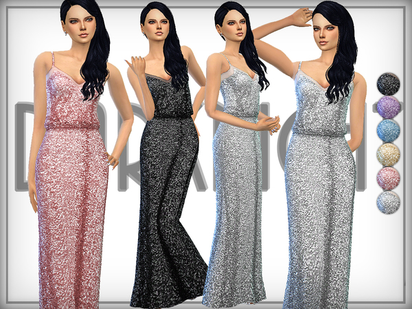 The Sims Resource: Sequined Tulle Gown by DarkNighT