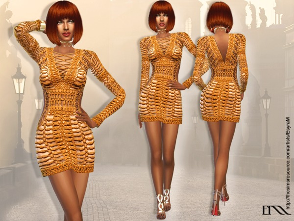 The Sims Resource: Mini Long Sleeve Dress by EsyraM