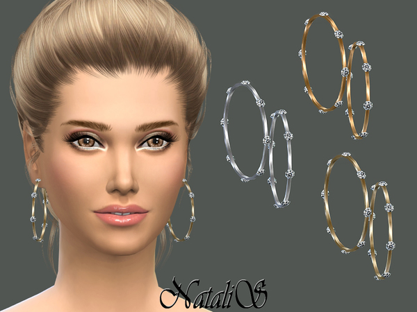 The Sims Resource: Sleek bangles earrings with crystals by NataliS