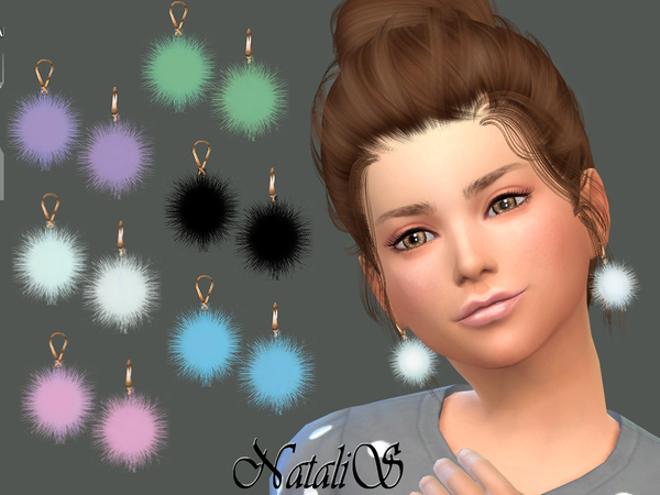 The Sims Resource: Child Fur ball earrings by NataliS